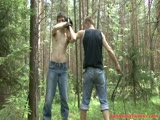 Gruelling bdsm spanking at the woods